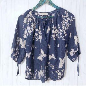 Yumi Kim Butterfly Silk Blouse Size XS Blue